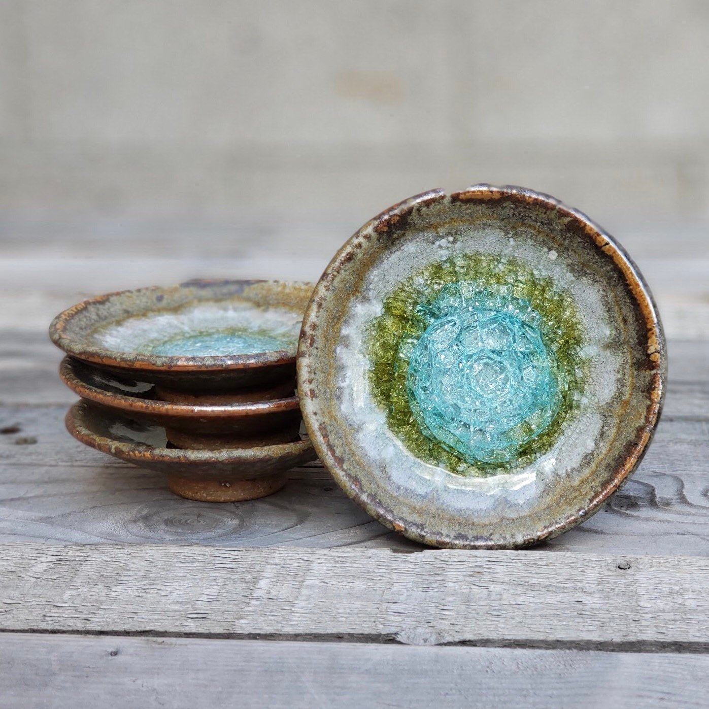 Geode, Glass, and Pottery Wedding Ring Dish by Dock 6 Pottery and Tile