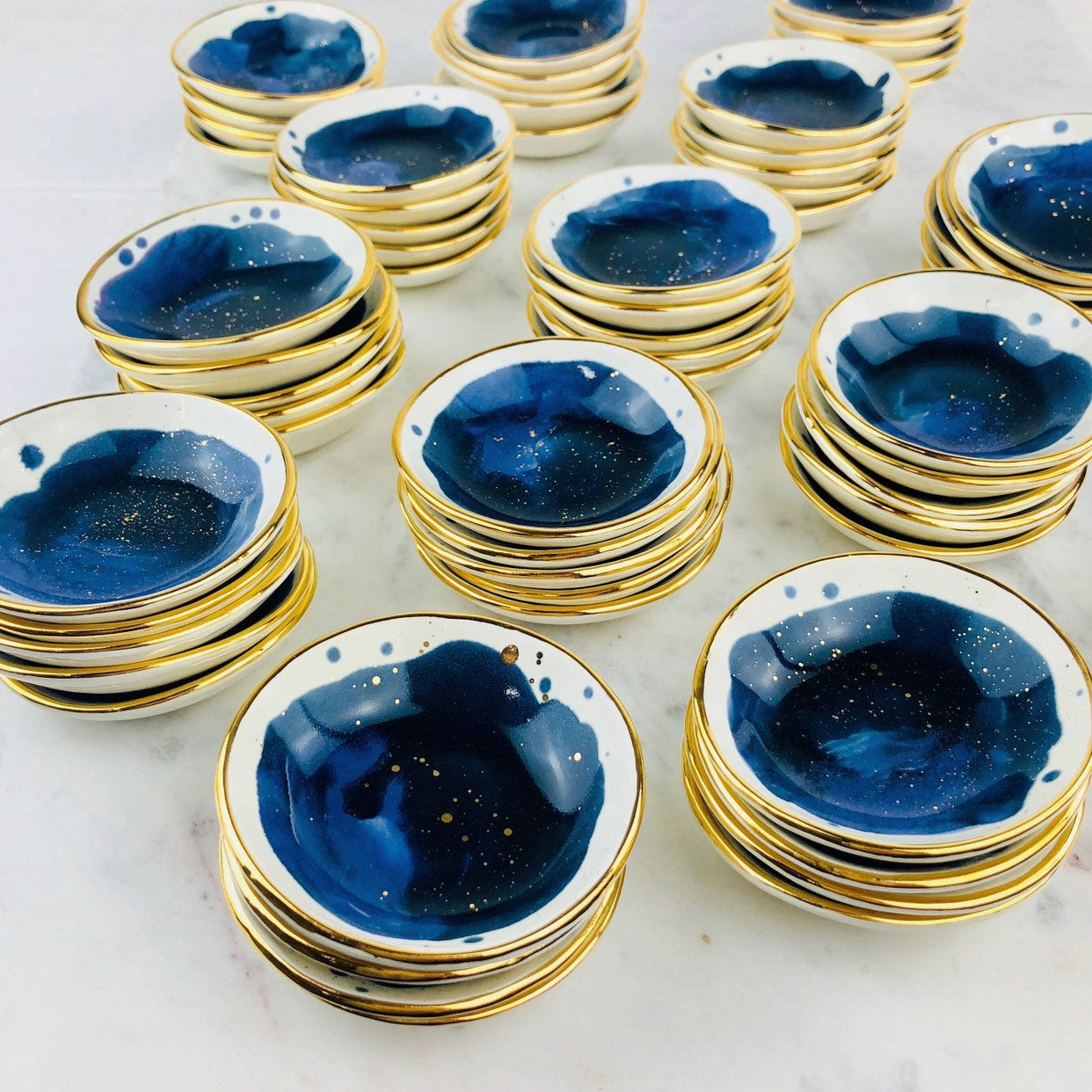 Midnight Sky Ceramic and 22K gold Ring dish by Susan Gordon Pottery