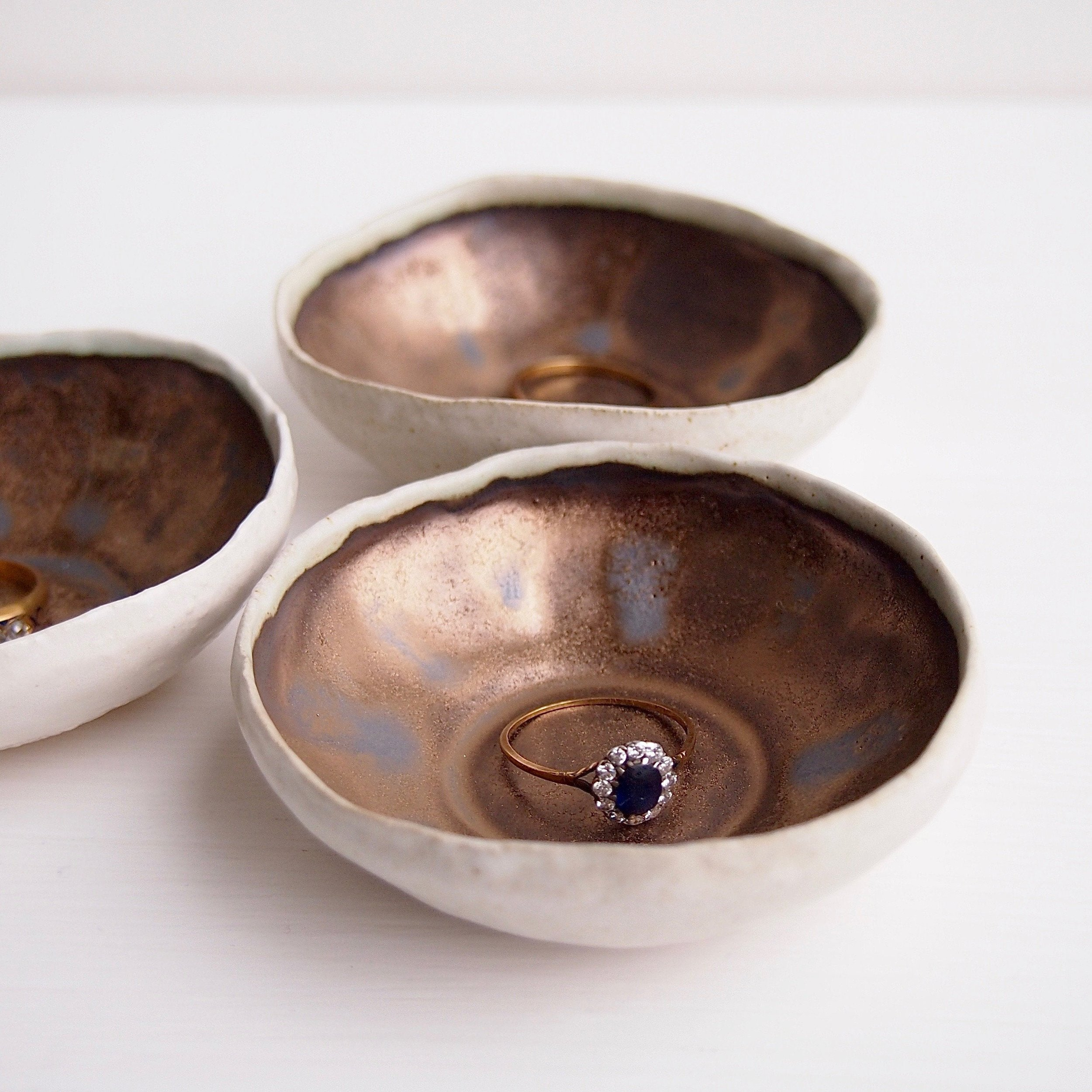 Cream and Copper Ceramic Wedding Ring Dish by Kabin Shop