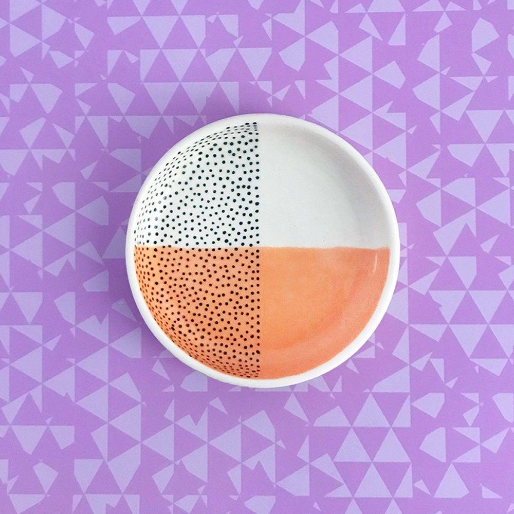 Peach and Black Dot Wedding Ring Dish by Erin MC Design