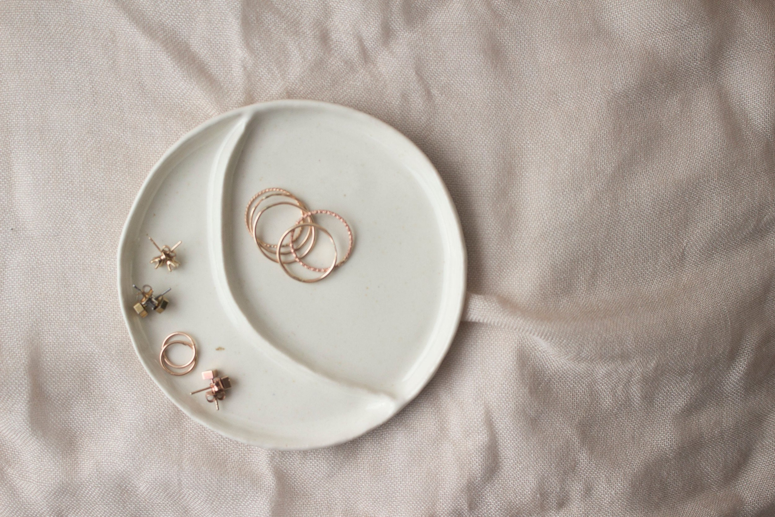 Simple Luna Moon Wedding Ring Dish by Cool Factory
