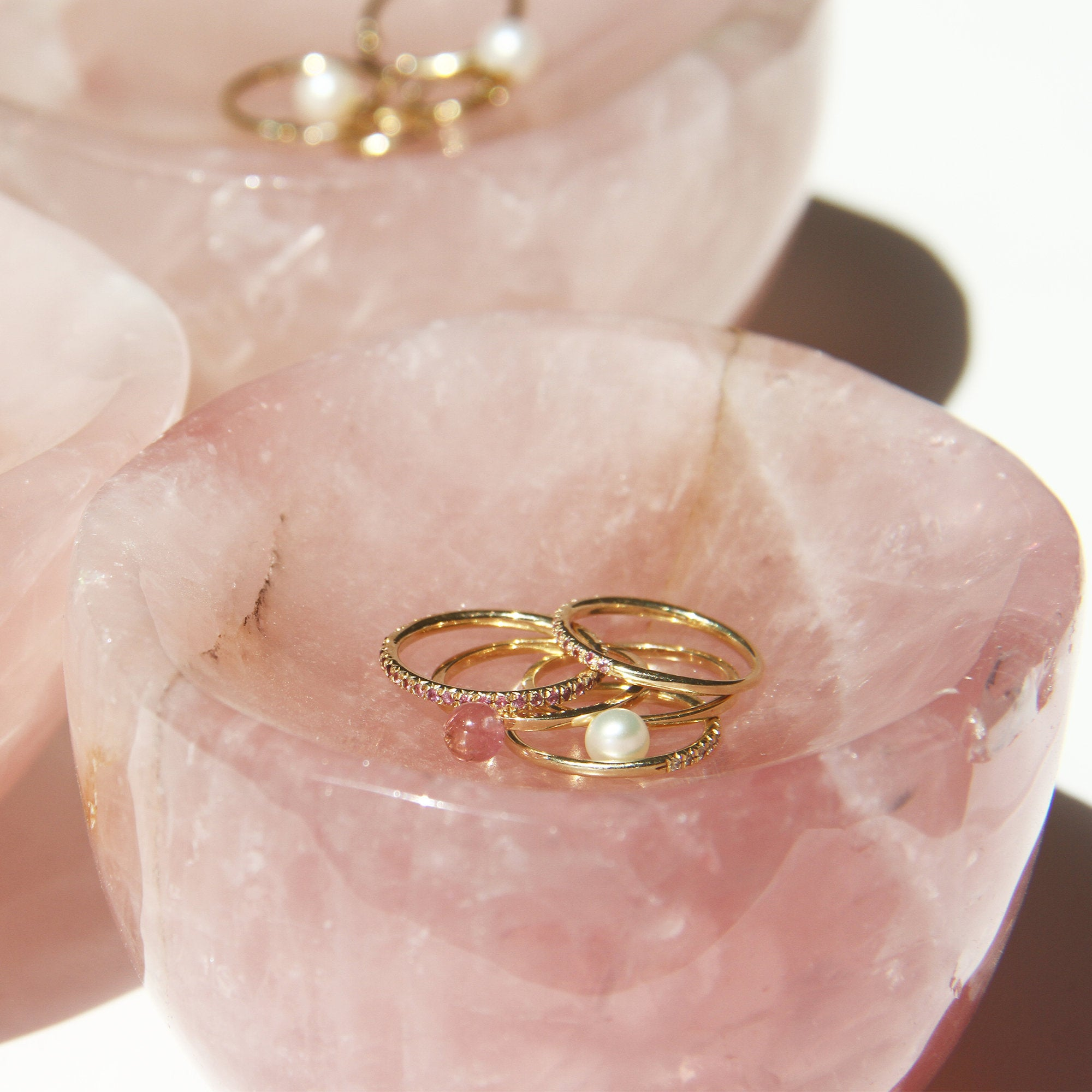 Solid Rose Quartz Wedding Ring Dish by XISS Jewellery