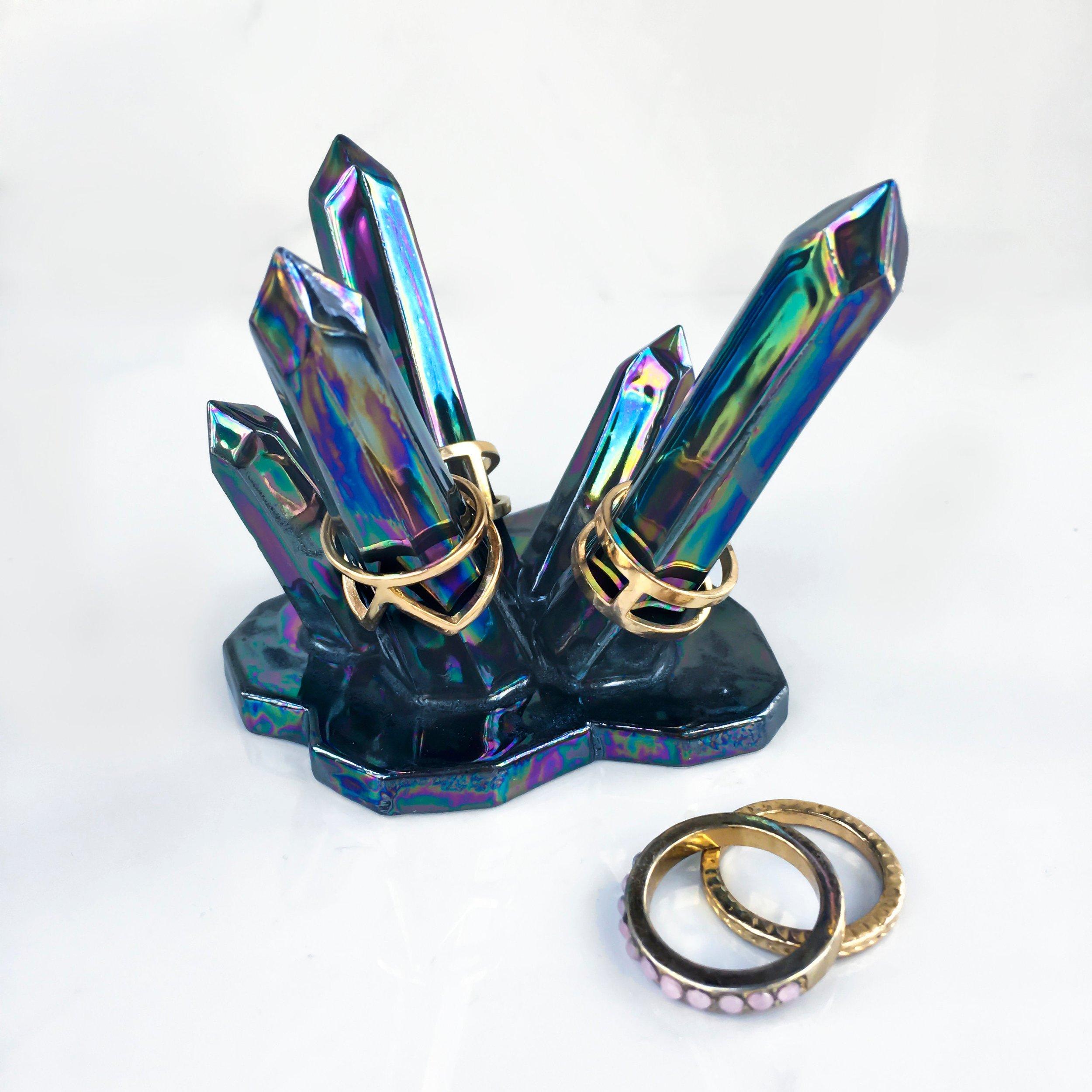Aura Crystal Wedding Ring Holder by Modern Mud
