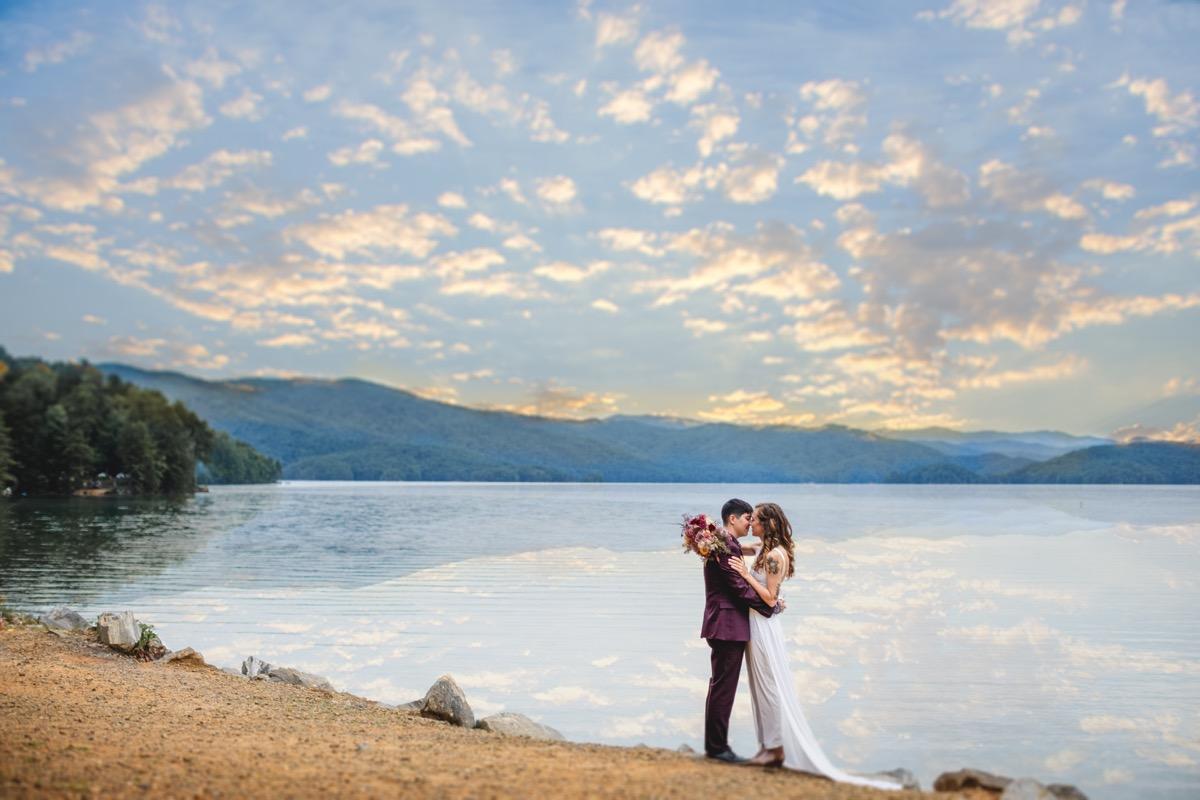 Sunset Lakeside Wedding Elopement Inspiration at Lake Jocassee, South Carolina The Elopement Co.