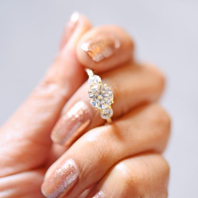Sofia Three Stone Diamond Engagement Ring by Valerie Madison Jewelry