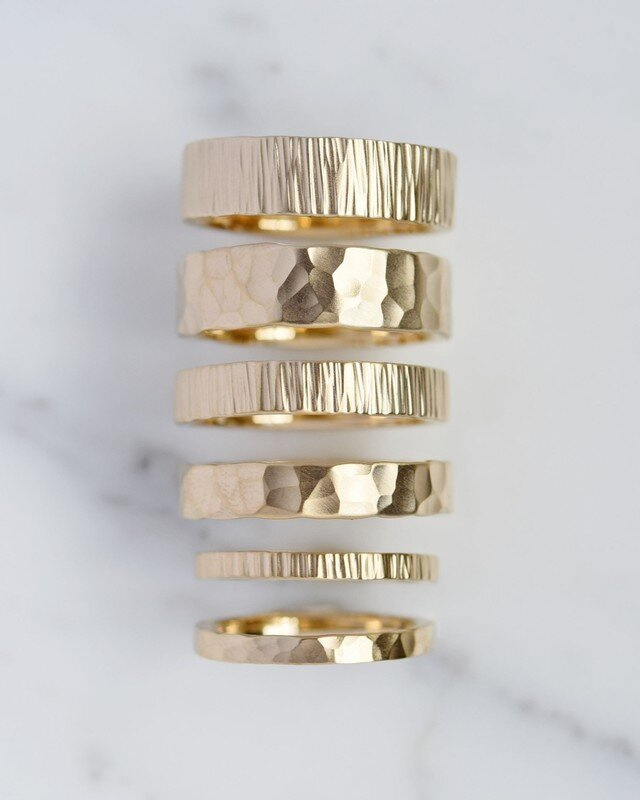 Textured Unisex Wedding Bands by Valerie Madison Jewelry