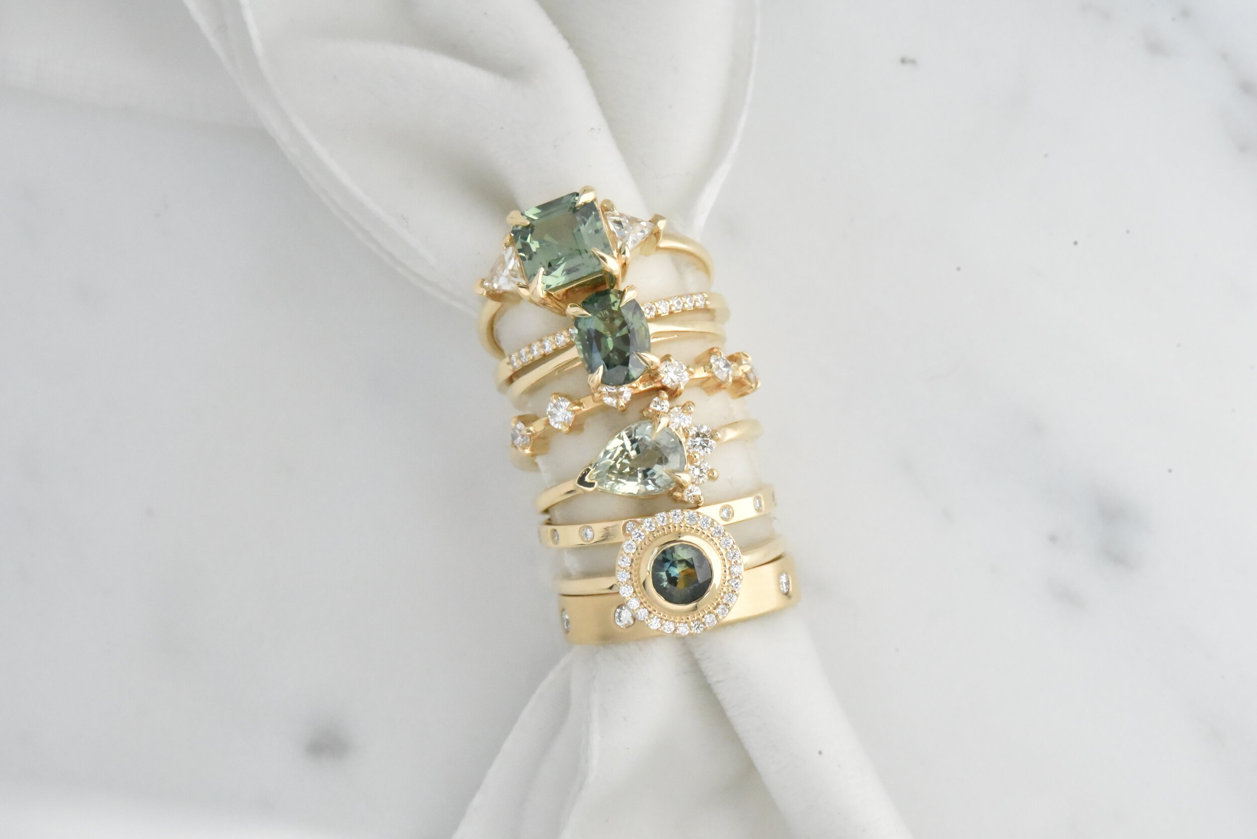 Green and Teal Sapphire and Diamond Wedding Engagement Rings by Valerie Madison Jewelry Seattle