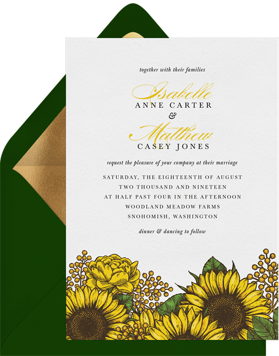 Radiant Sunflowers Wedding Invitation by Greenvelope