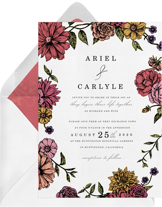Romatic Floral Border Wedding Invitation by WonderWed