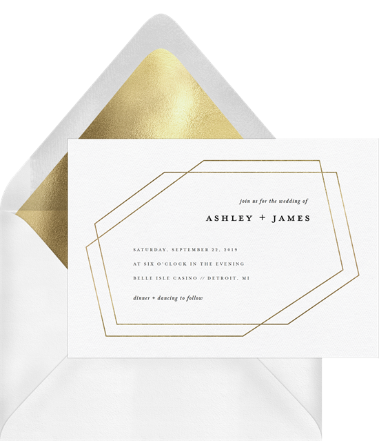 Foil Facets Wedding Invitation by Genna Cowsert Design