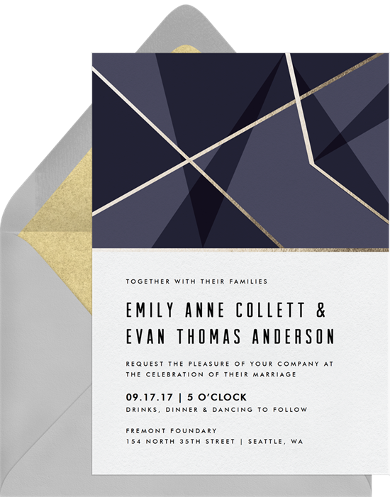 Mod Geo Foil Wedding Invitation by Robinson Paperie