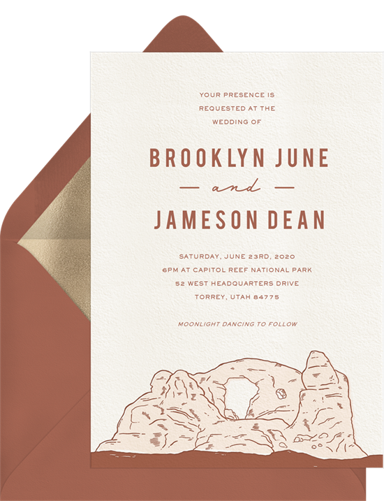 Capitol Reef Wedding Invitation by the National Parks Foundation