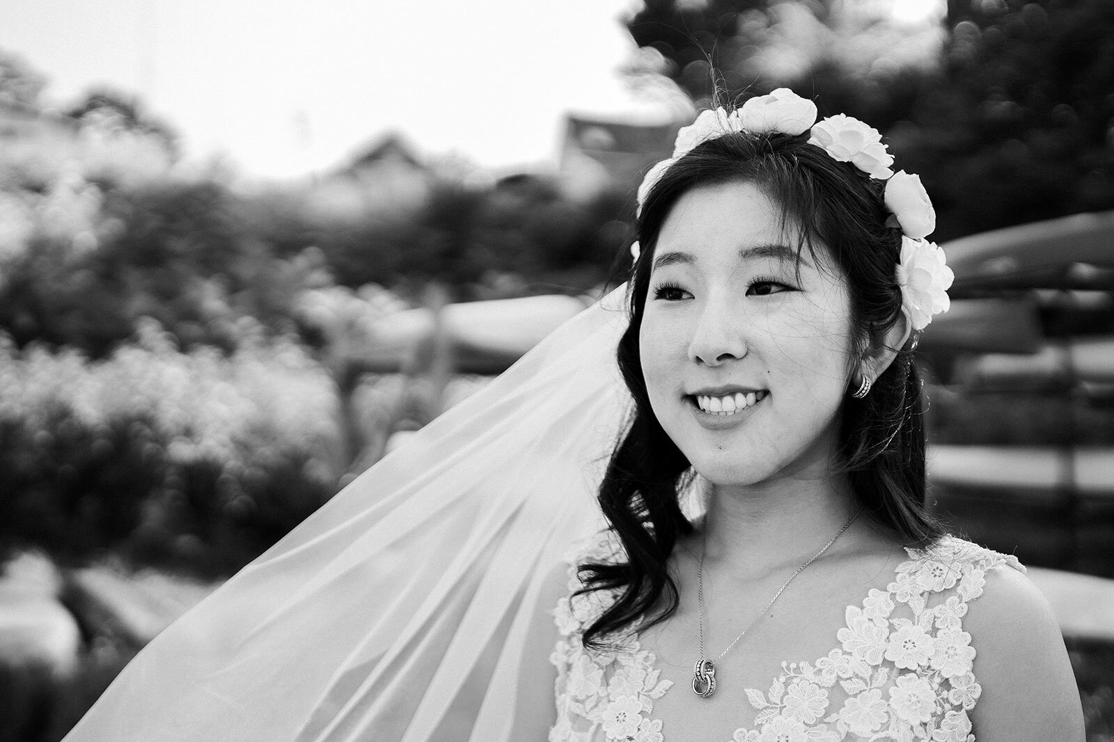 Newlywed in flower crown and veil Rachel Epperly Film and Photo Portland Oregon