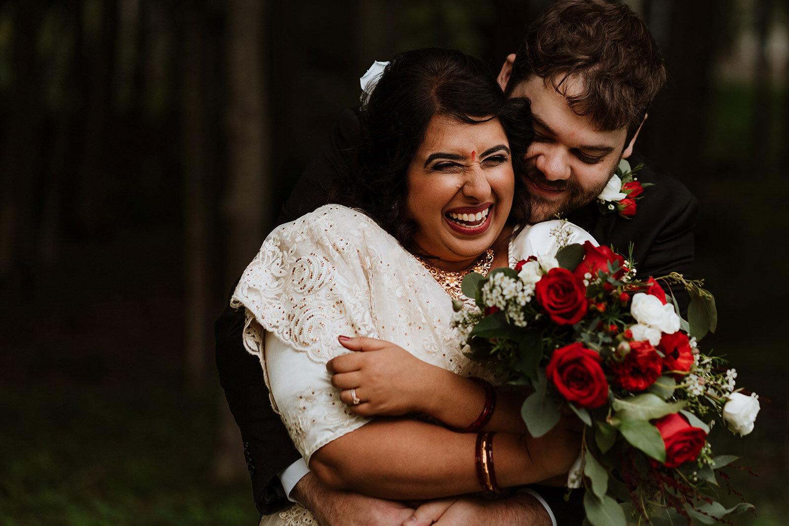 Newlywed couple hug and smile after wedding Rachel Epperly Film and Photo Portland Oregon