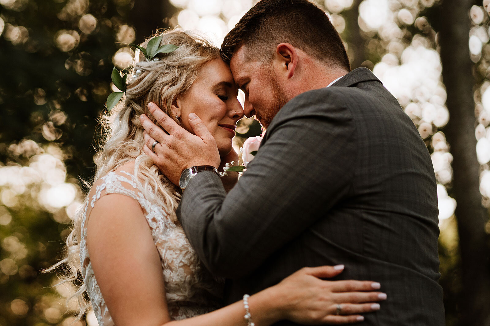 Newlywed couple lean in for kiss after wedding Rachel Epperly Film and Photo Portland Oregon