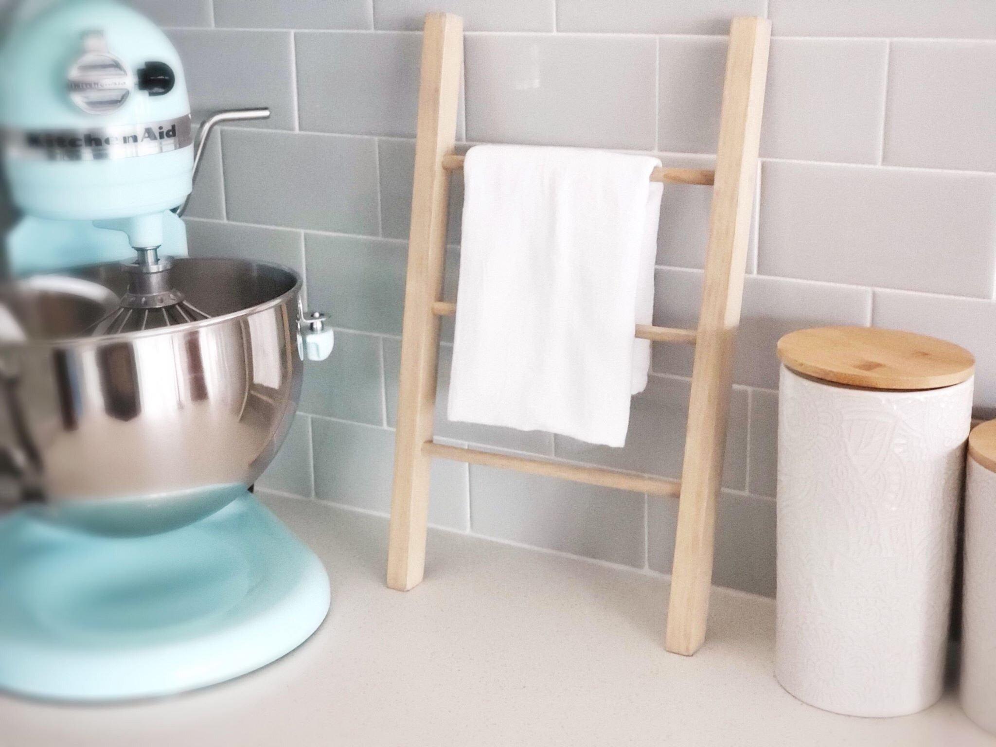 Minimal Farmhouse Ladder Dish Towel Holder by Highland Design Co