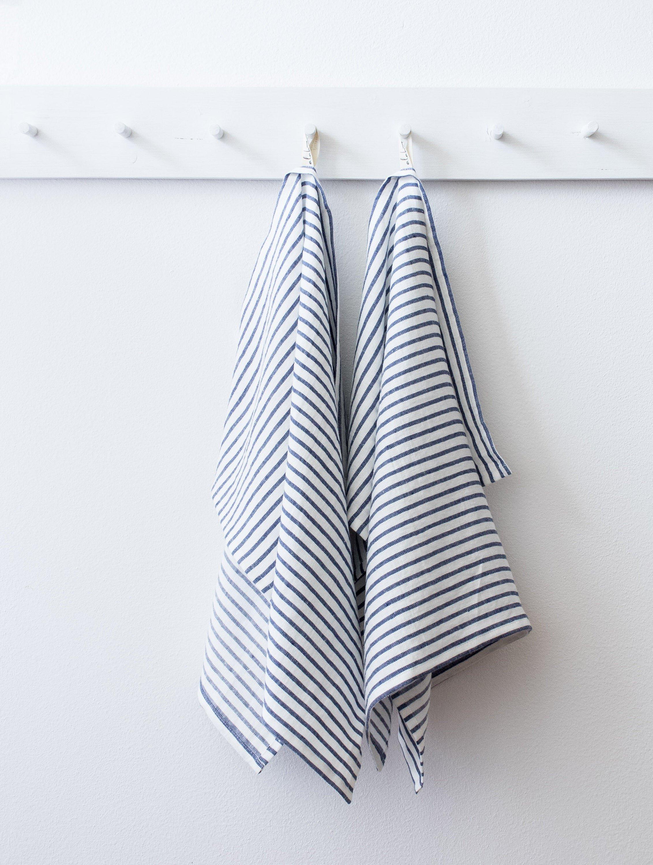 Striped Linen Kitchen Hand Towels by Alabatis
