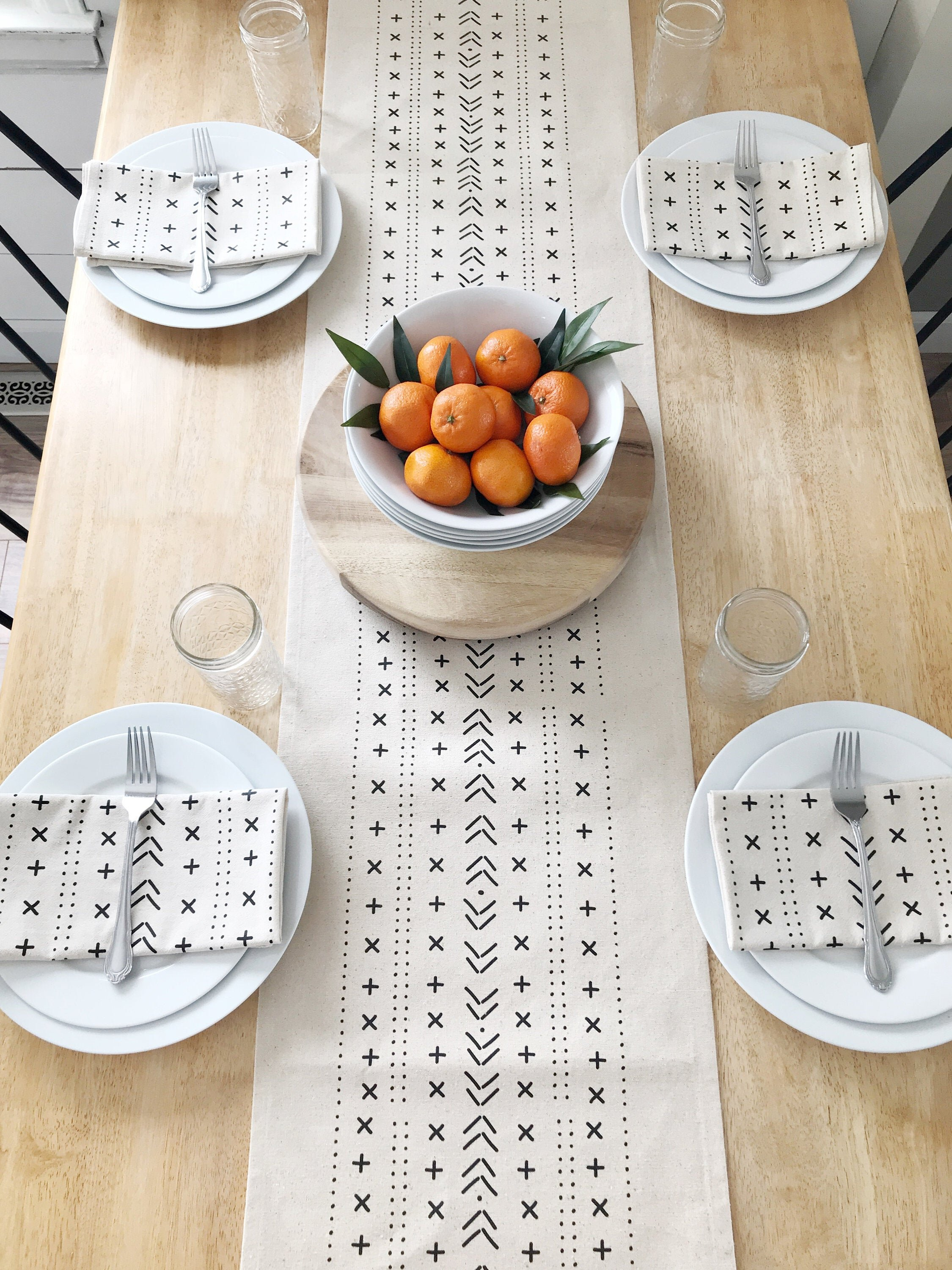 Mudcloth Minimal Table Runner by Kitsch Studios