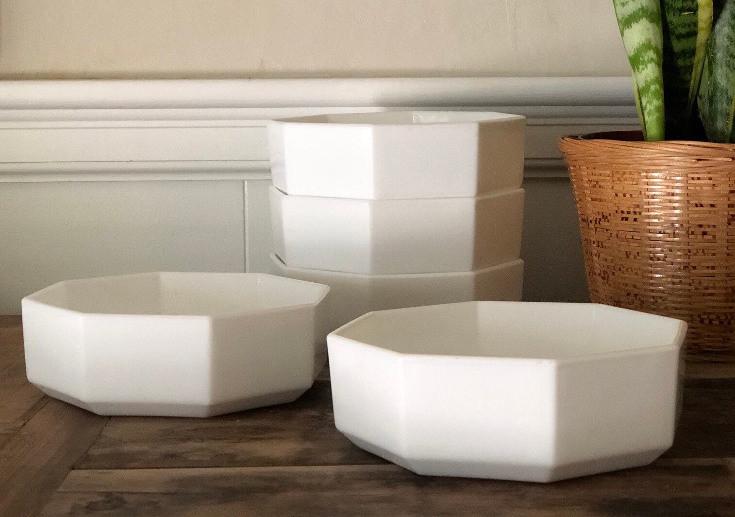 Vintage White Octagon Bowls by Shabby Tabby Salvage