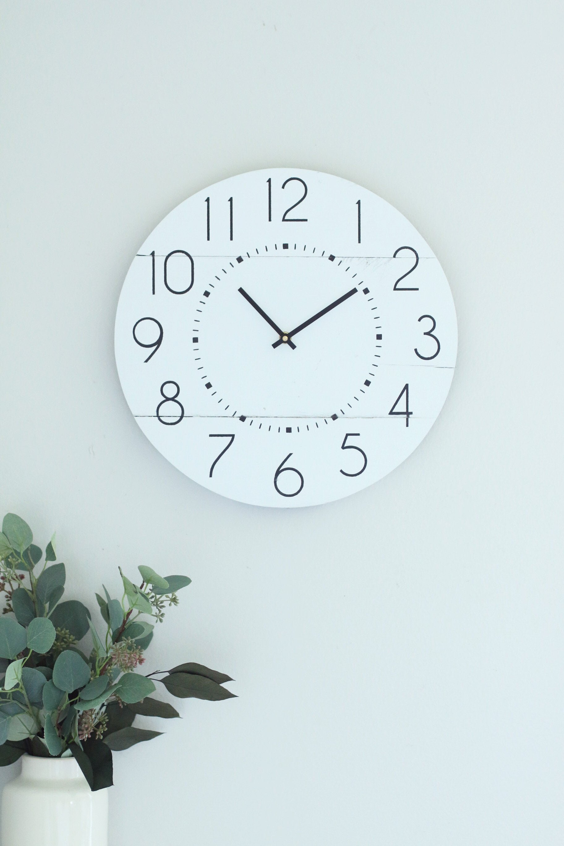 """15"""" Minimal White Wooden Wall Clock by Woodlane Creation"""