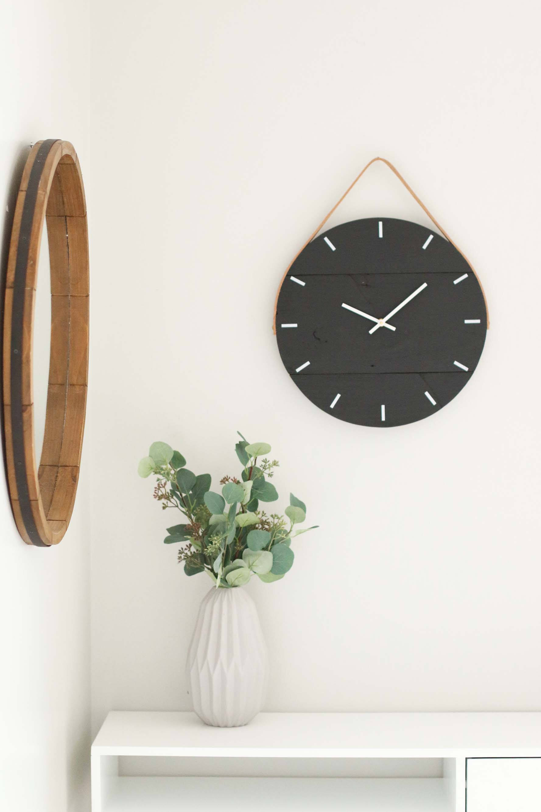"""15"""" Black Wood and Leather Wall Clock by Woodlane Creation"""