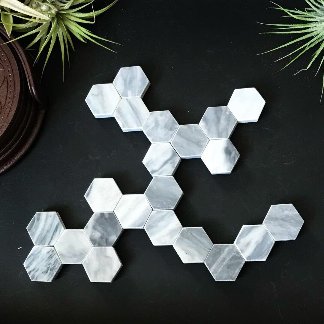 "Set of 23 Marble 1"" Hexagon Fridge Magnets by Rose White Lime"