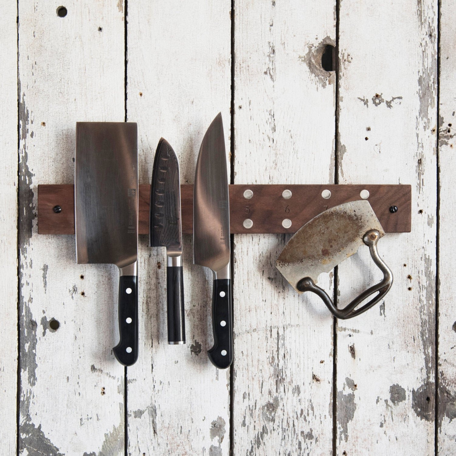 Sustainably Sourced Magnetic Wood Knife Wall Rack by Peg & Awl