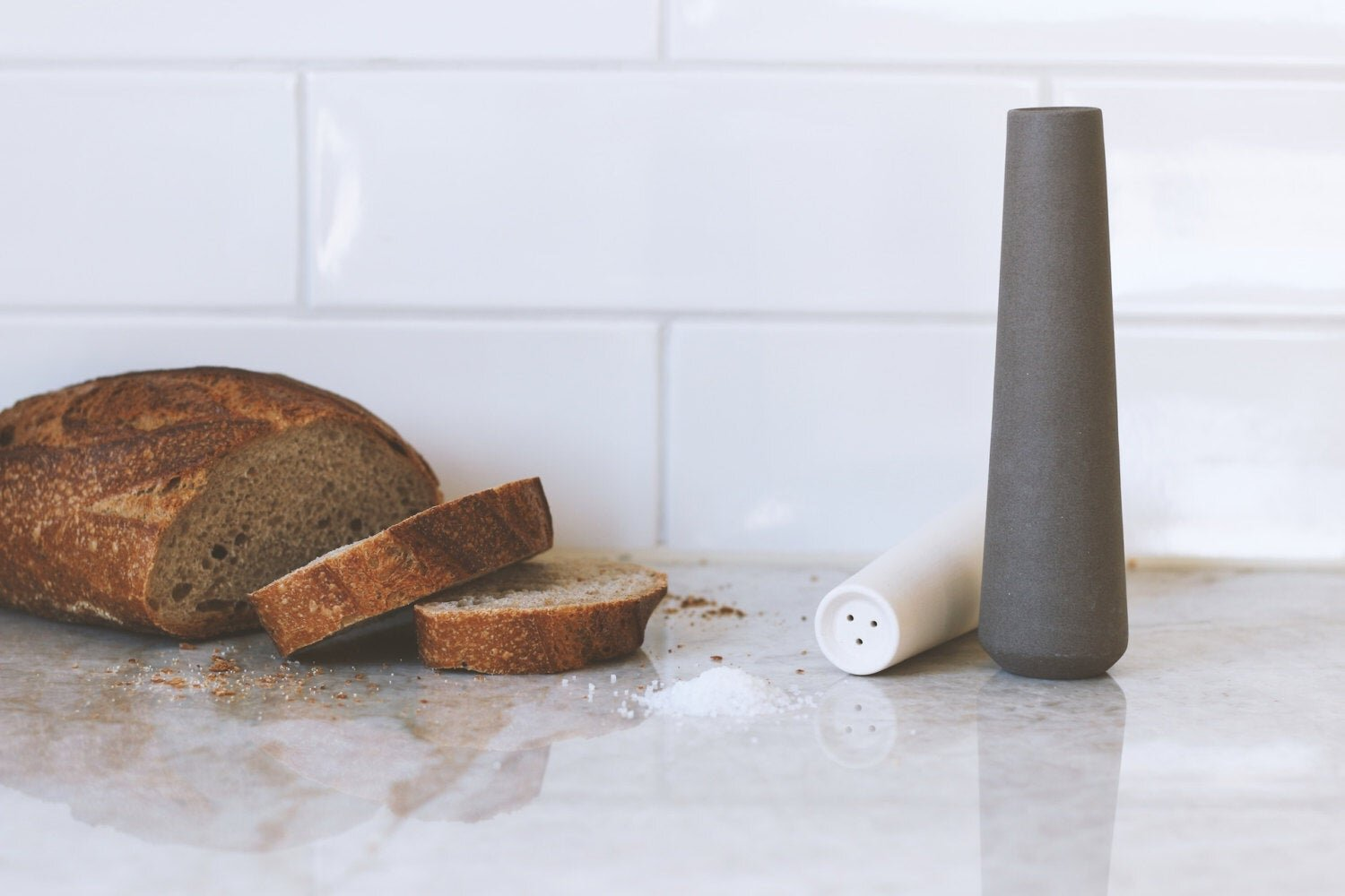 Gray and White Ceramic Salt and Pepper Shakers by Yahalomis