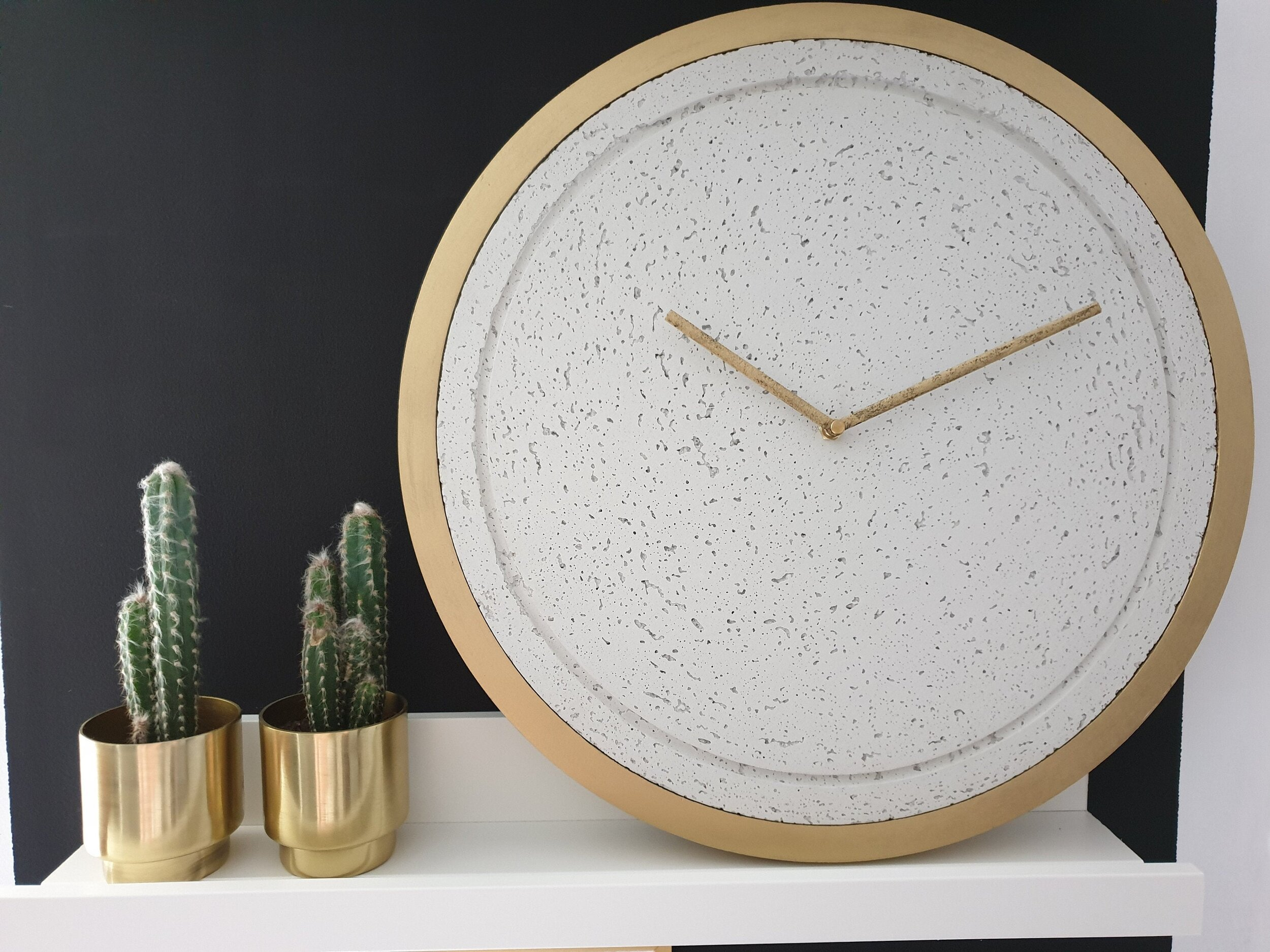 """Minimal Concrete and Gold 17"""" Wall Clock by Graycrafters"""