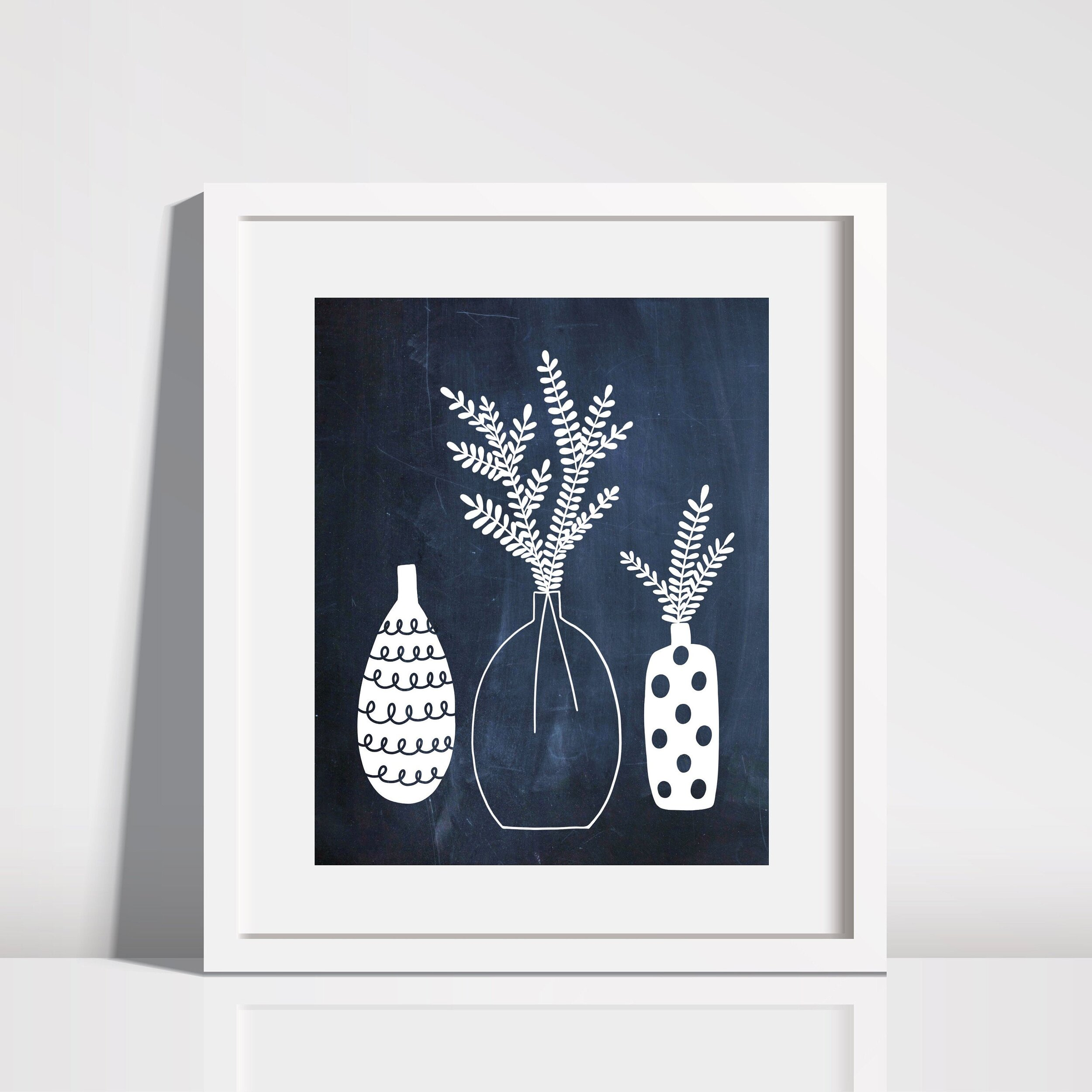 Downloadable Print at Home Vase Navy and White Wall Art Print by Lisa Nohren Designs