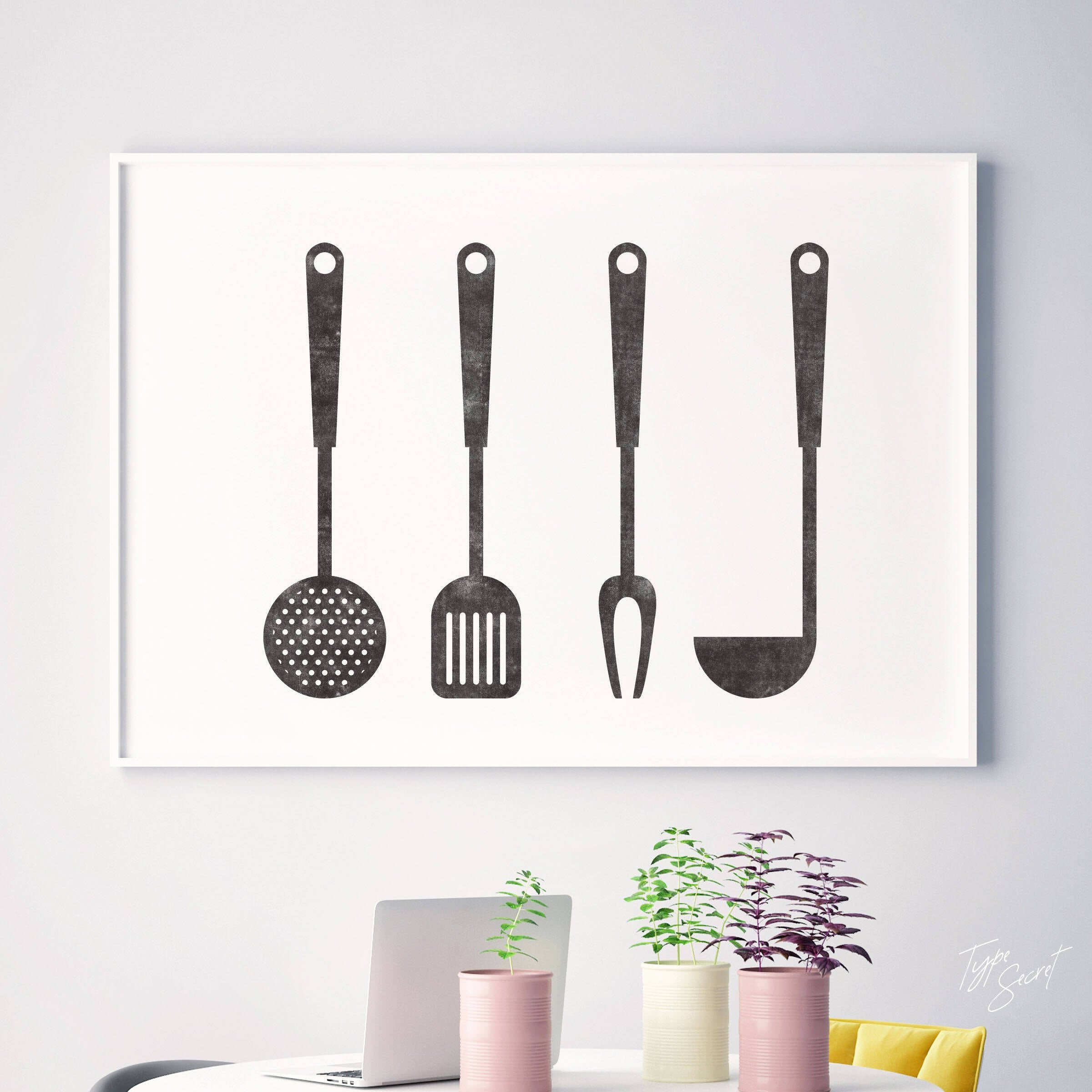Downloadable Print at Home Kitchen Utensil Wall Art by Type Secret