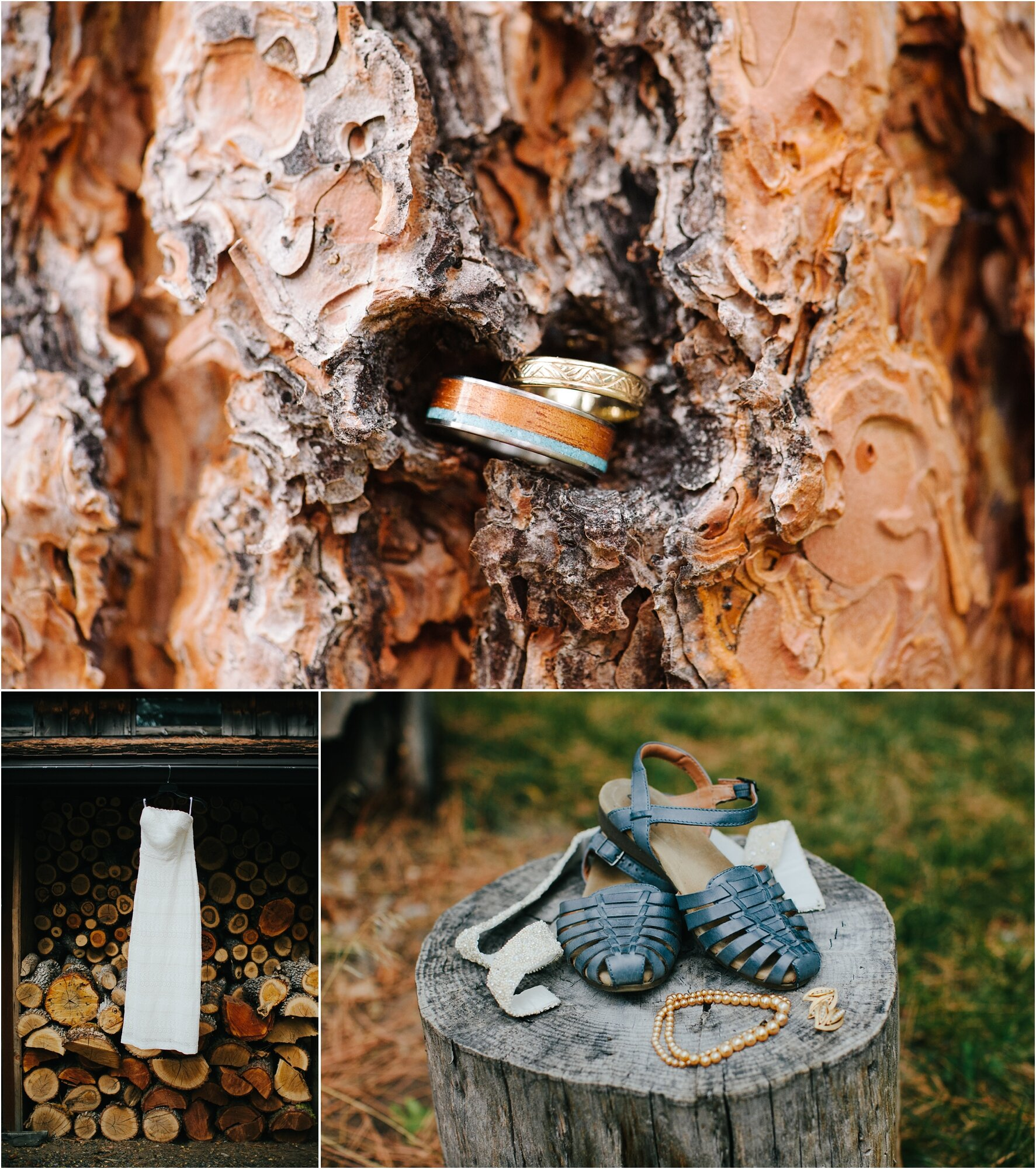 wedding rings nestled in a tree and wedding dress and accessories hanging in front of stack of file wood