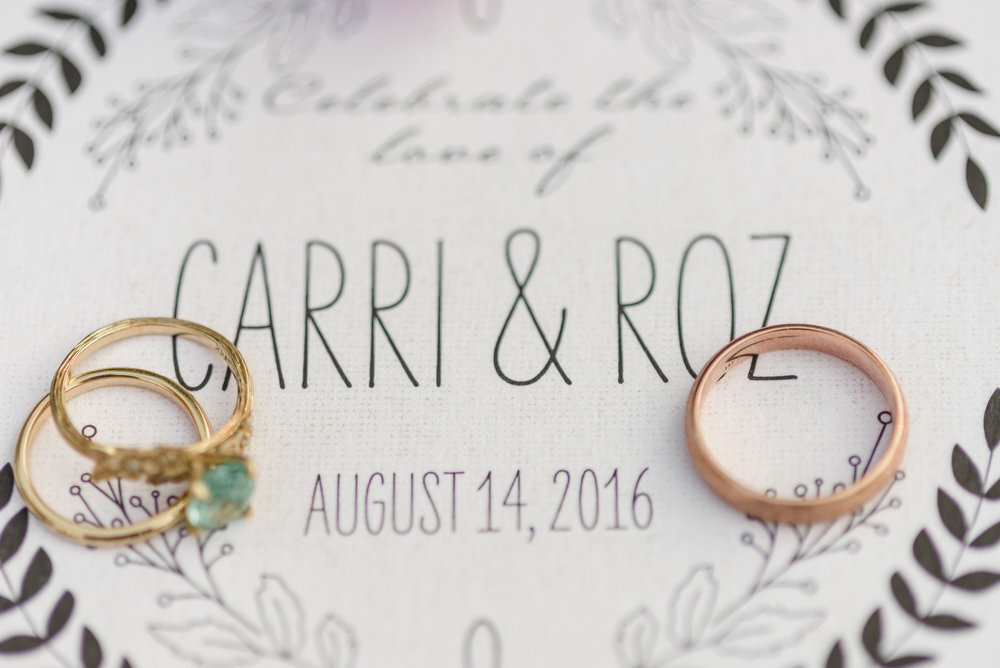 close up shot of wedding rings and invitations at redwoods wedding in California