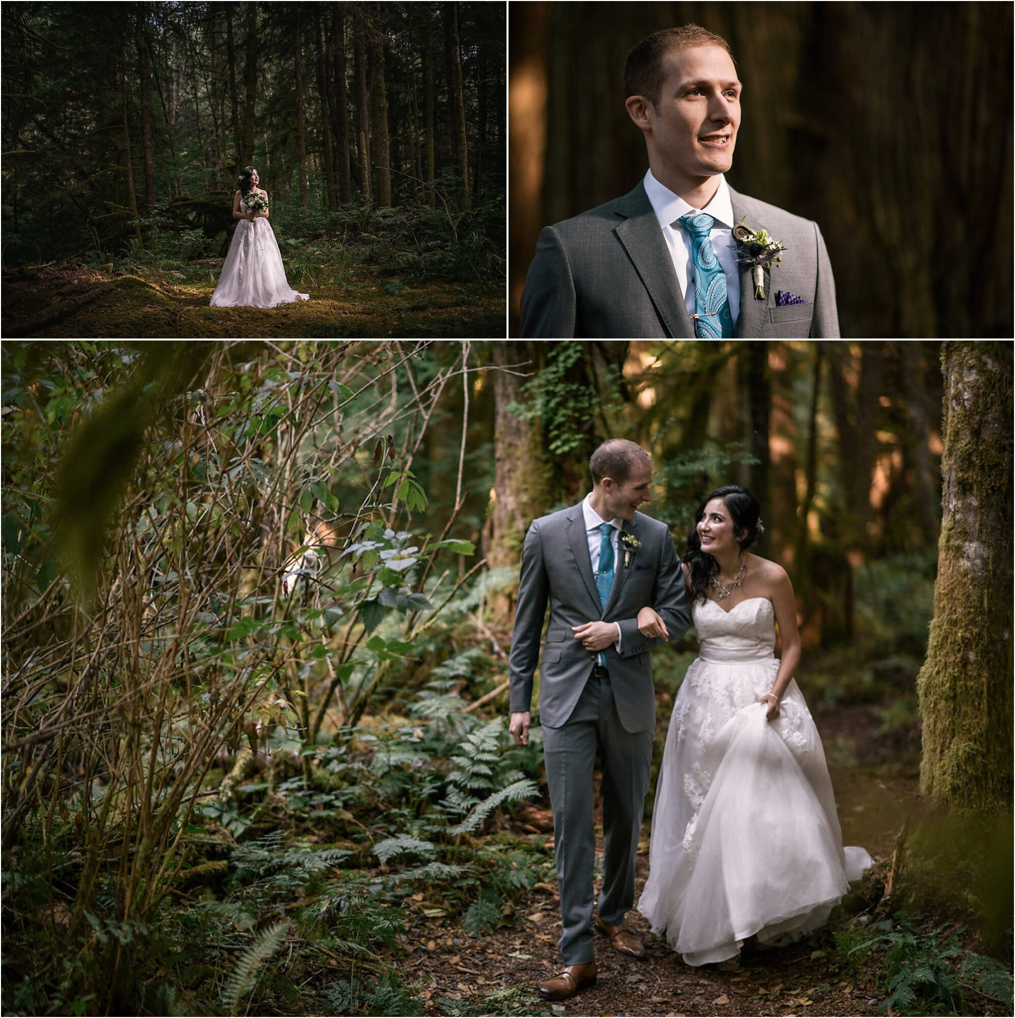 Alex and Nodira getting ready and walking together through mossy trees to ceremony at campsite in Washington state