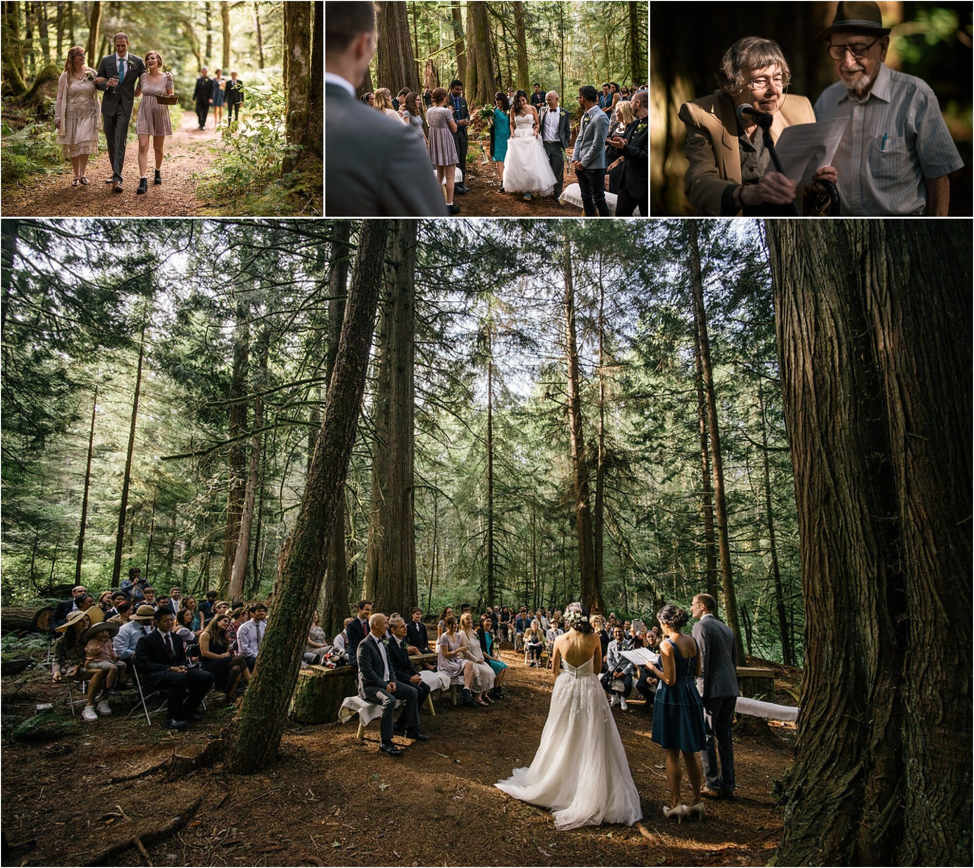 family and friends surround the couple as they exchange vows during campsite wedding in Washington state