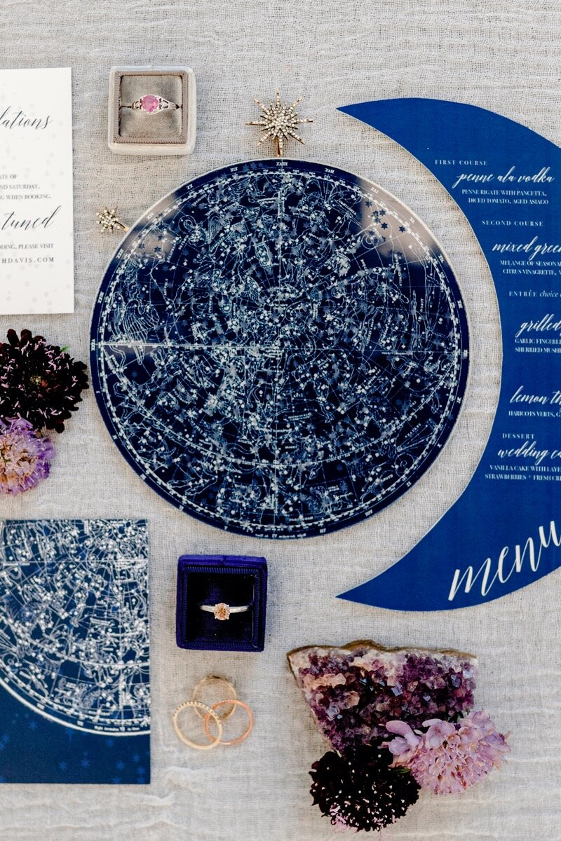 Celestial and Geode wedding inspiration in Winston Salem NC showing cobalt celestial invitation suite Ariel Kaitlin Photography