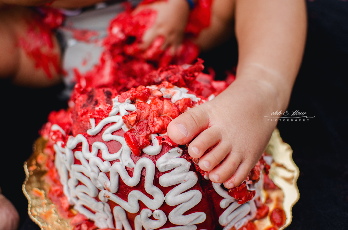 zombie themed brain cake smash // ebb and flow photography