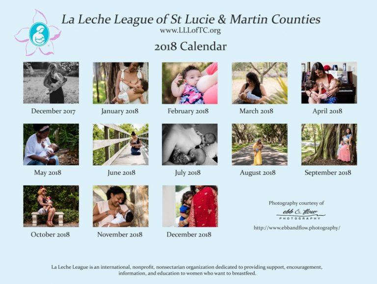 LLL of the TC 2018 calendar - Treasure Coast Breastfeeding Photographer - Ebb and Flow Photography