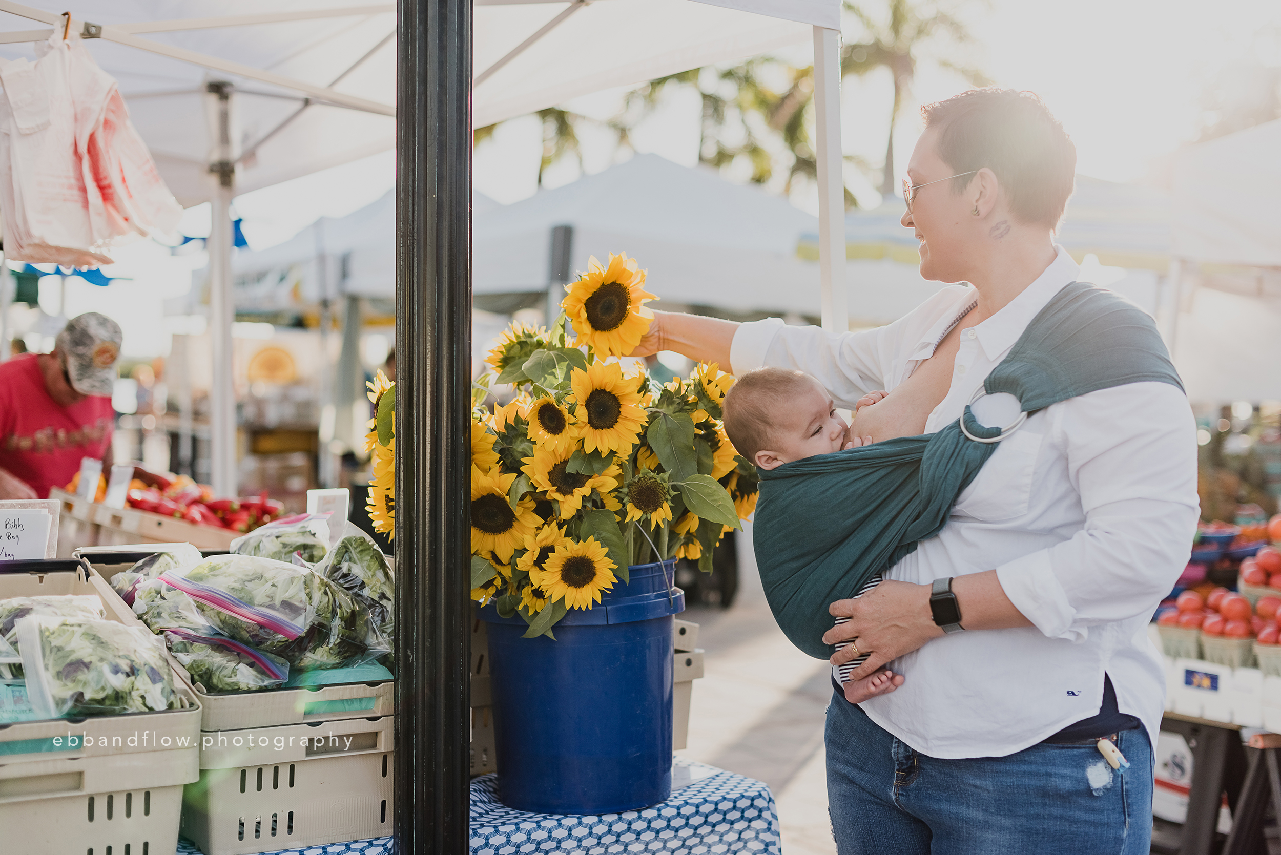 Fort Pierce Breastfeeding Photography - Ebb and Flow Photography -  Ring Sling shopping for sunflowers.jpg
