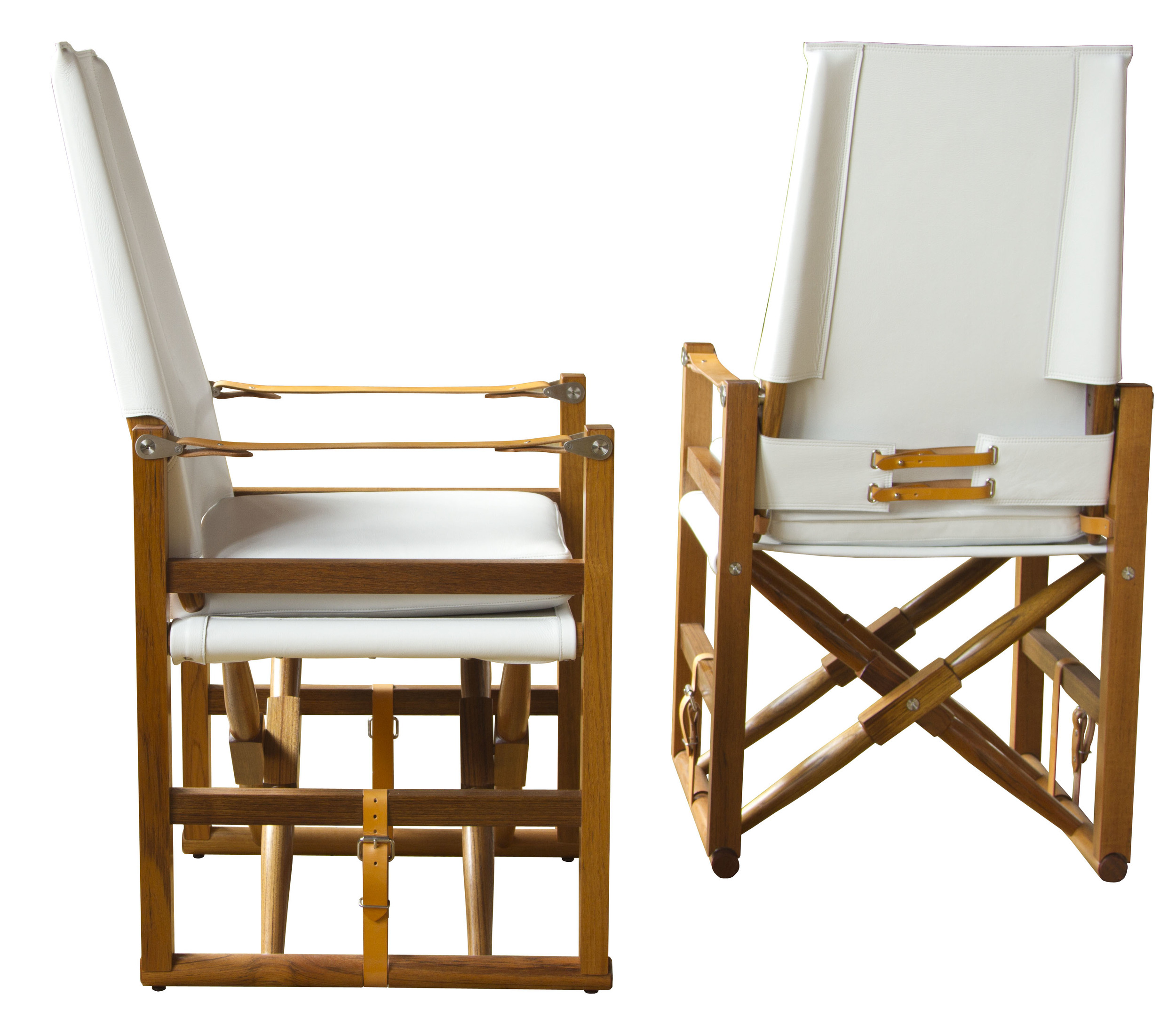 Large Cabourn Folding Chair  Oiled Teak with Moore & Giles Deer Run: Arctic White and Coach English bridle leather strapping