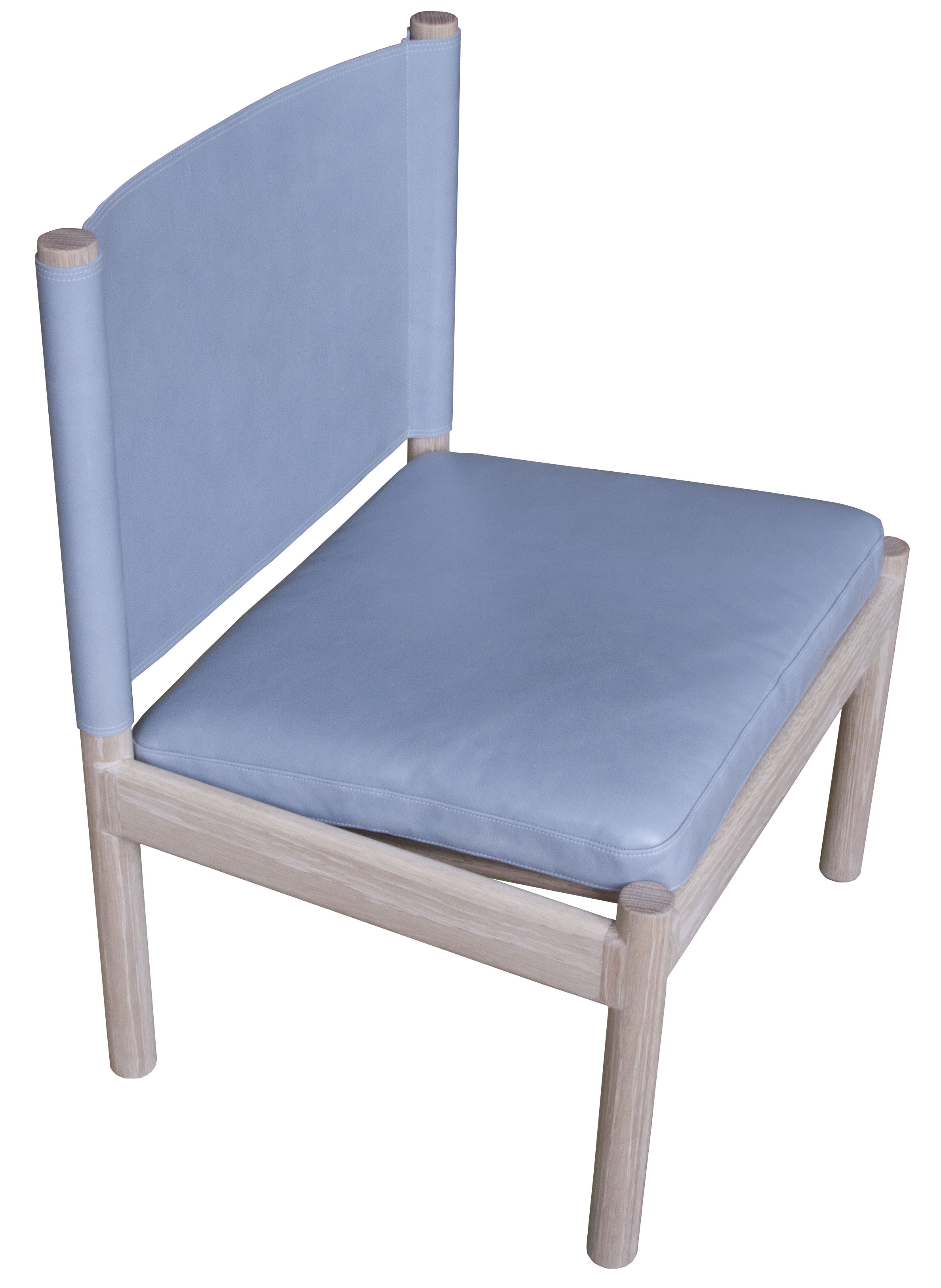 Reed Chair  Natural finished white oak with Moore & Giles Diablo: powder blue