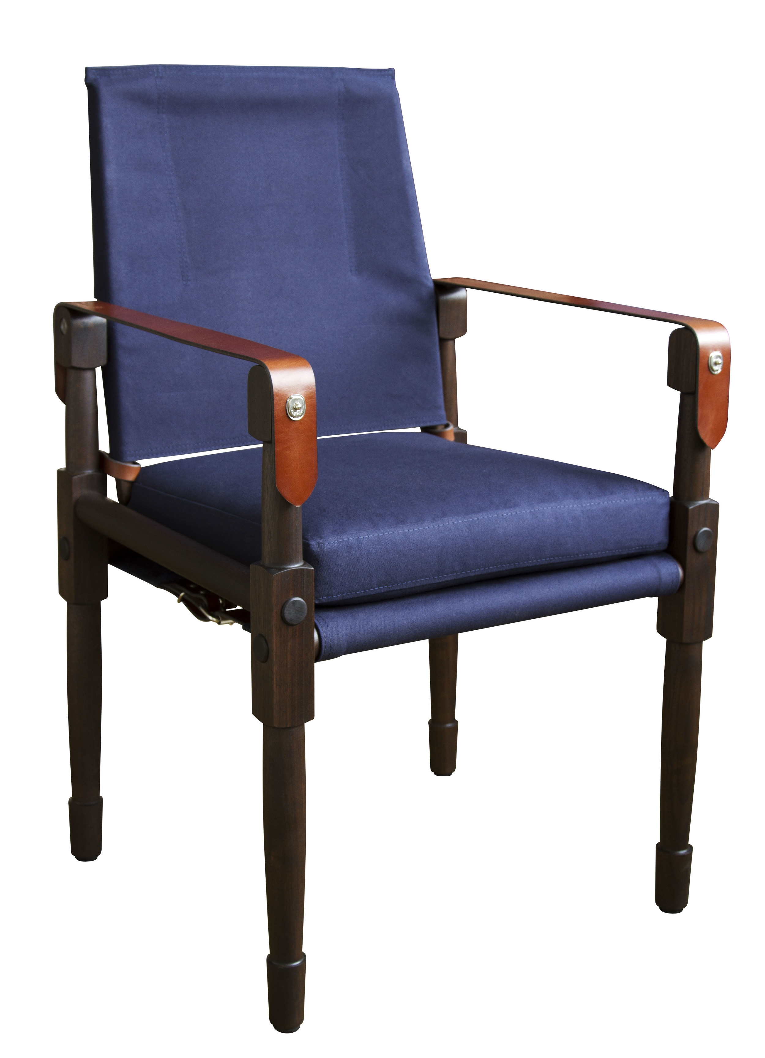 Marrakesh stained walnut with navy canvas and saddle English bridle leather strapping  25