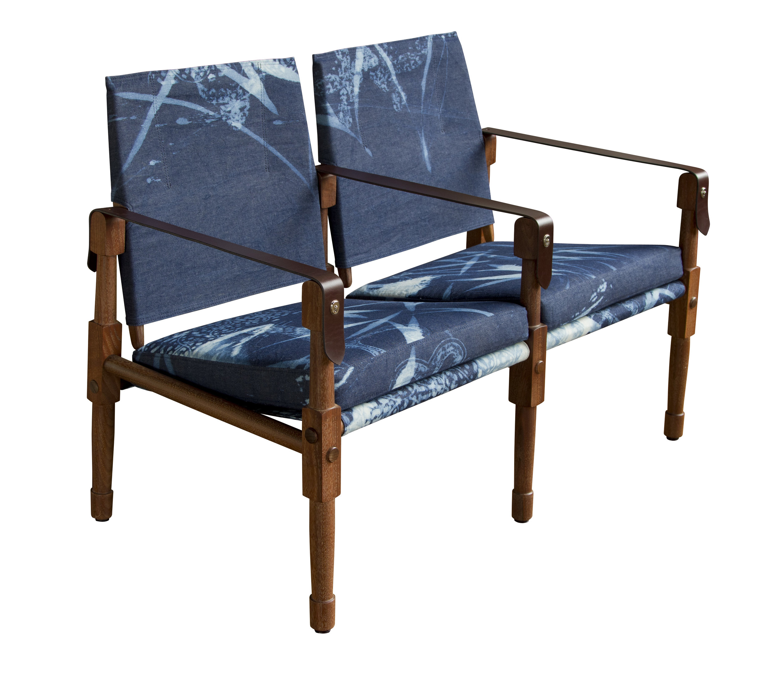 Oiled walnut with Robshaw bleach block-printed denim upholstery and havana English bridle leather strapping  14