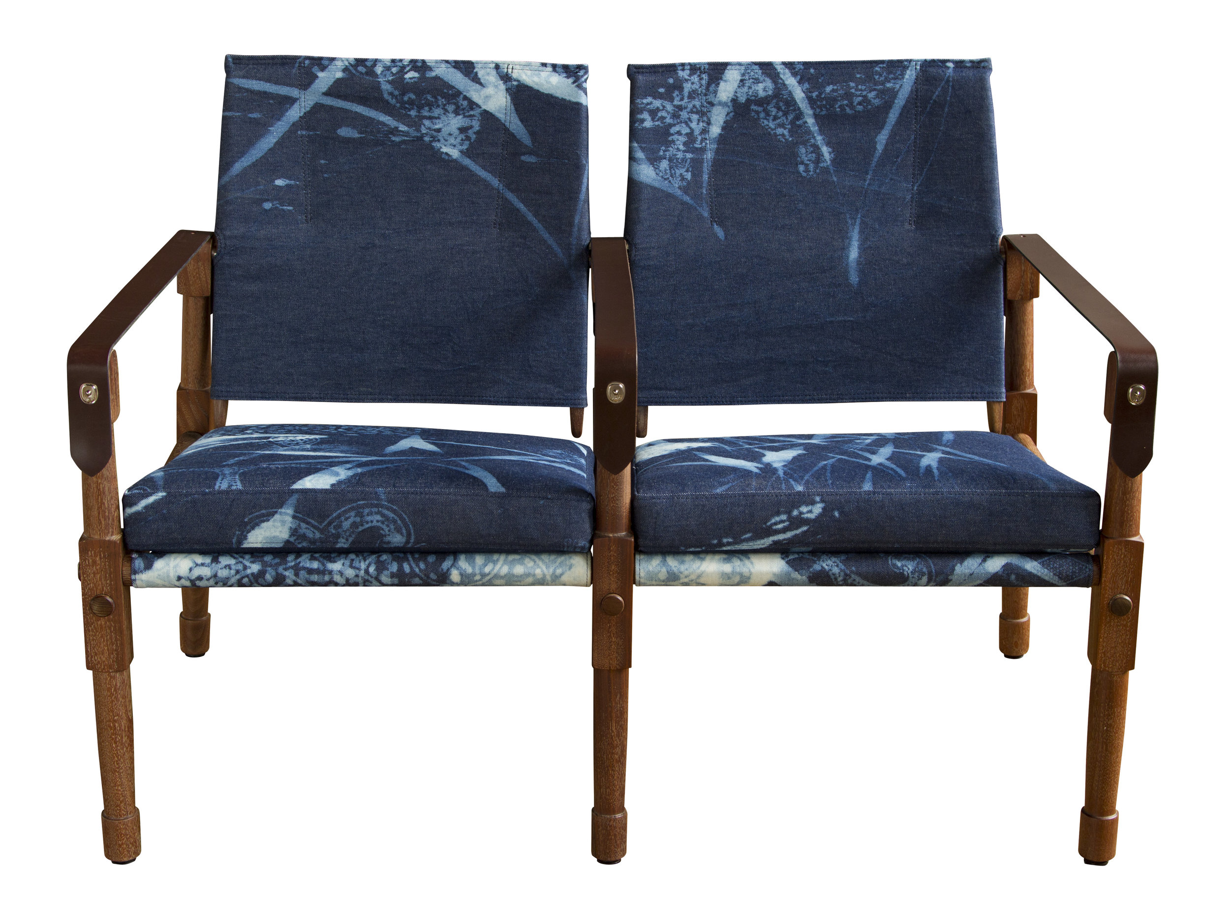 Oiled walnut with Robshaw bleach block-printed denim upholstery and havana English bridle leather strapping  13