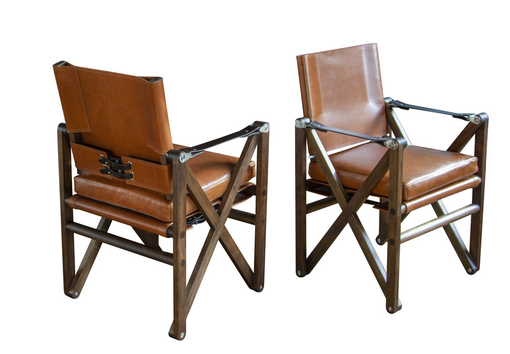 Maclaren Dining Chair Richard, Leather Campaign Dining Chair