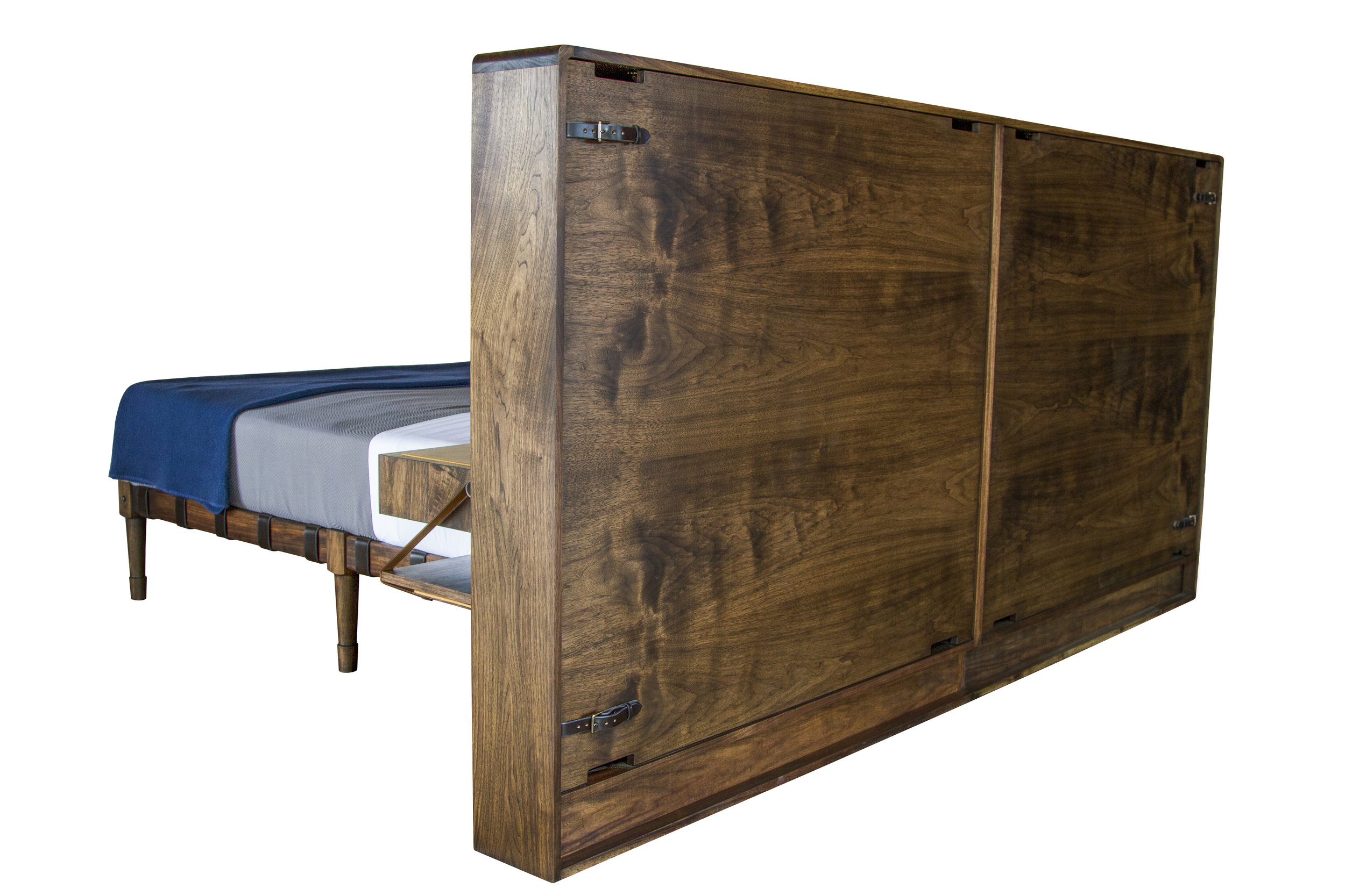 Custom free-standing Marlton Headboard with removable panels for electrical access.