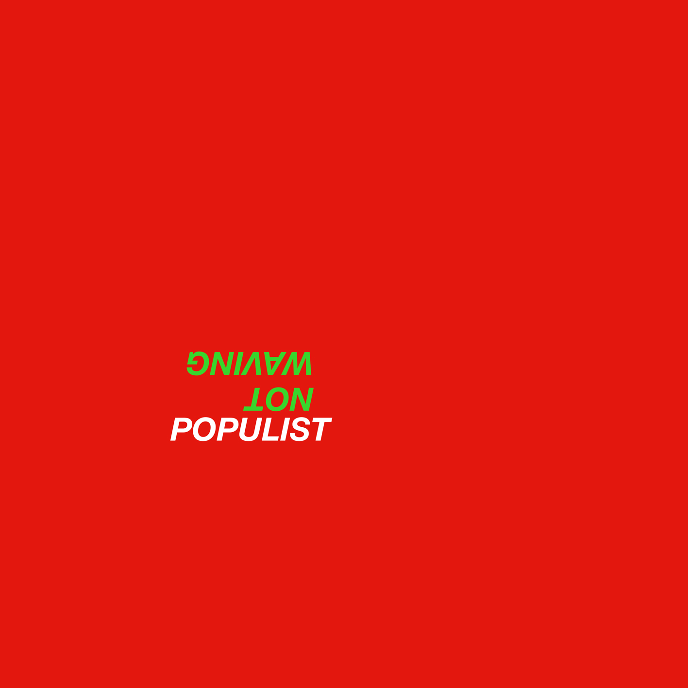 """Not Waving - Populist EP [E026]  • Not Waving recoils back to his Ecstatic label after an ace LP + 12""""s for Diagonal  • Four tracks flirting with sleazy New Beat, nEuro EBM, Acid n0!se and deep-raved Italo • Edition of 500 copies, initial 200 pressed up on coloured vinyl. Housed in fluoro green/hot red jacket • Mastered and cut by Matt Colton @ Alchemy  Not Waving takes 2017 by the scruff with his Populist EP, consolidating the myriad stripes of his acclaimed Animals album in four peaktime hammers forged for darkrooms, basements and warehouses alike.  If last year's LP saw you thru from day-into-night, or vice-versa, this one is aimed squarely at the gurny hours of abandon in between, with ferocious acid lines and jabbing drums stripped down and strapped up to prompt reckless behaviour on the 'floor.  Containing his first material written in the wake of Animals, the Populist EP is Alessio Natalizia a.k.a. Not Waving's strongest dancefloor statement since the 1-sided Get Serious (2015) bullet. It finds him taking the opportunity to make straight-up bangers, rather than 'songs', which were thoroughly tried and tested over successive tours of the USA and countless shows in Europe too in the last 9 months.  Too Many Freaks is an anthem in waiting, harnessing a barely-hinged sense of chaos between its careening synth lead, acid squabble and velvet-clad kicks, before the dry-rutting jag and plaintive vox of Vibe Killer takes a dog-grip like This Heat meeting Tuning Circuits.  Top marks go to the check-your-stylus intro for Control Myself on the B-side, which holds its fizzy line into a fetid crevice of what sounds Russell Haswell ramping with Powell, whereas the crooked clampjaw groove of Ur Lucky Ur Still Alive pivots around a sample of a lone raver at Atonal, Berlin """"who had no idea how she got there and what she did the night before"""". A ruddy good night all-round, then?  Alessio Natalizia a.k.a. Not Waving co-owns the Ecstatic label alongside Sam Willis. Not Waving is """
