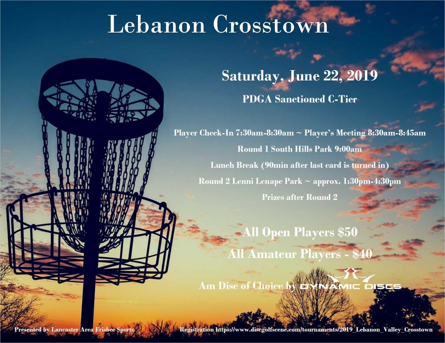 Come join us for the 2nd PDGA-sanctioned event with Lebanon Valley Disc  Golf Club! LAFS has teamed up with Mike Dunkle again to bring you this  exciting tournament! We will be playing a mixed layout at South Hills  Park first round and playing at Lenni Lenape Park for the second round.    Registration:  https://www.discgolfscene.com/tournaments/2019_Lebanon_Valley_Crosstown