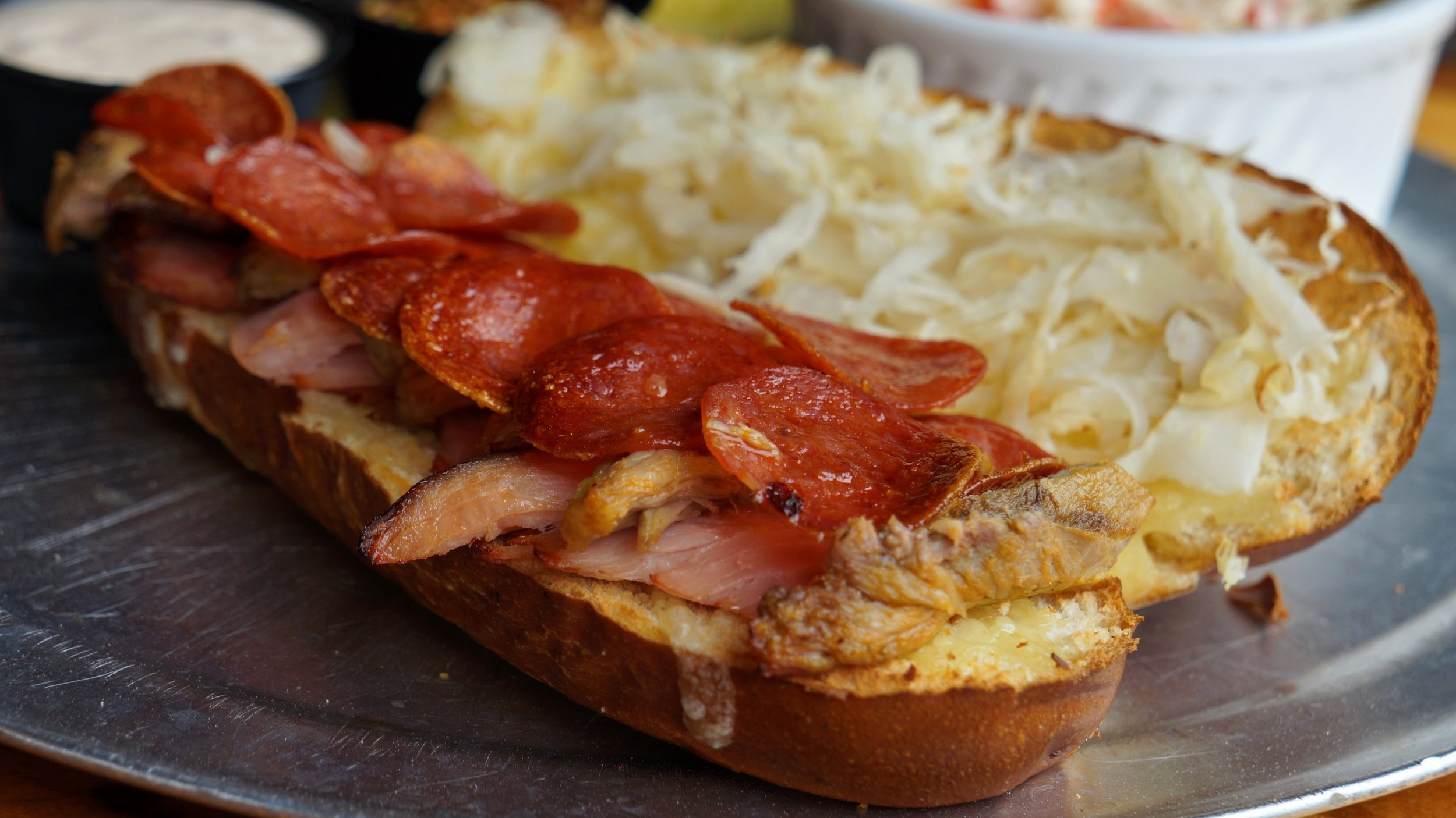 Reubano sandwich - Our twist on a Reuben and a Cuban.