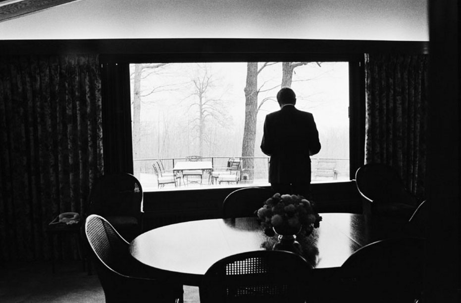 Richard Nixon inside the Aspen Lodge, Camp David, 1973.